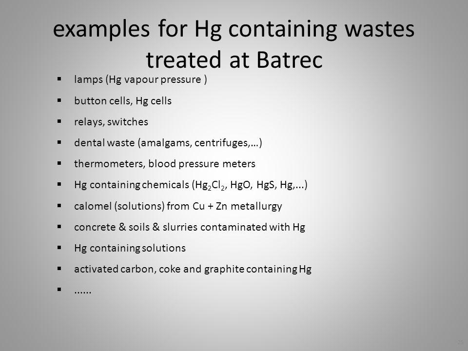 examples for Hg containing wastes treated at Batrec