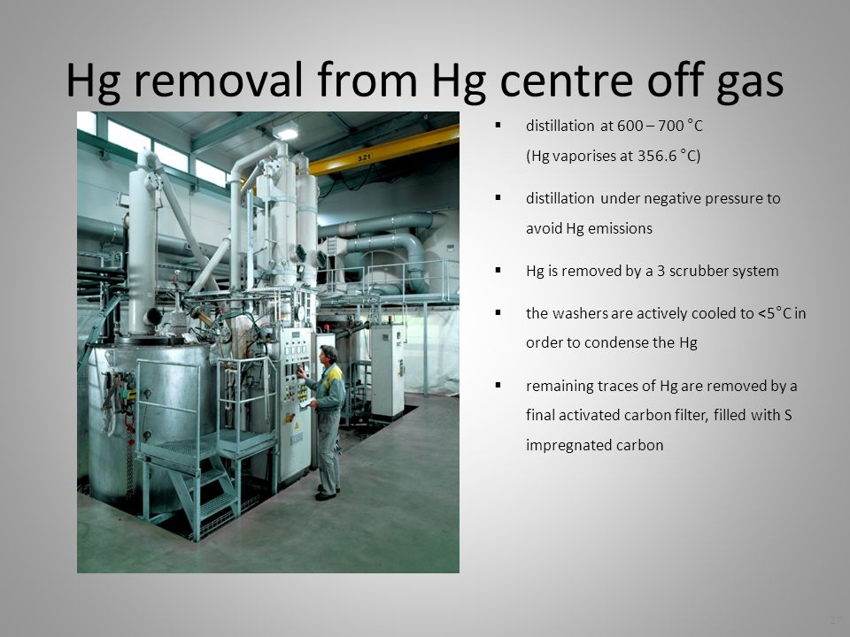 Hg removal from Hg centre off gas