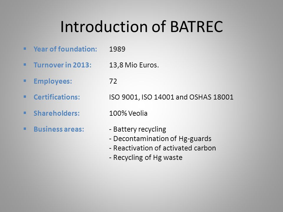 Introduction of BATREC