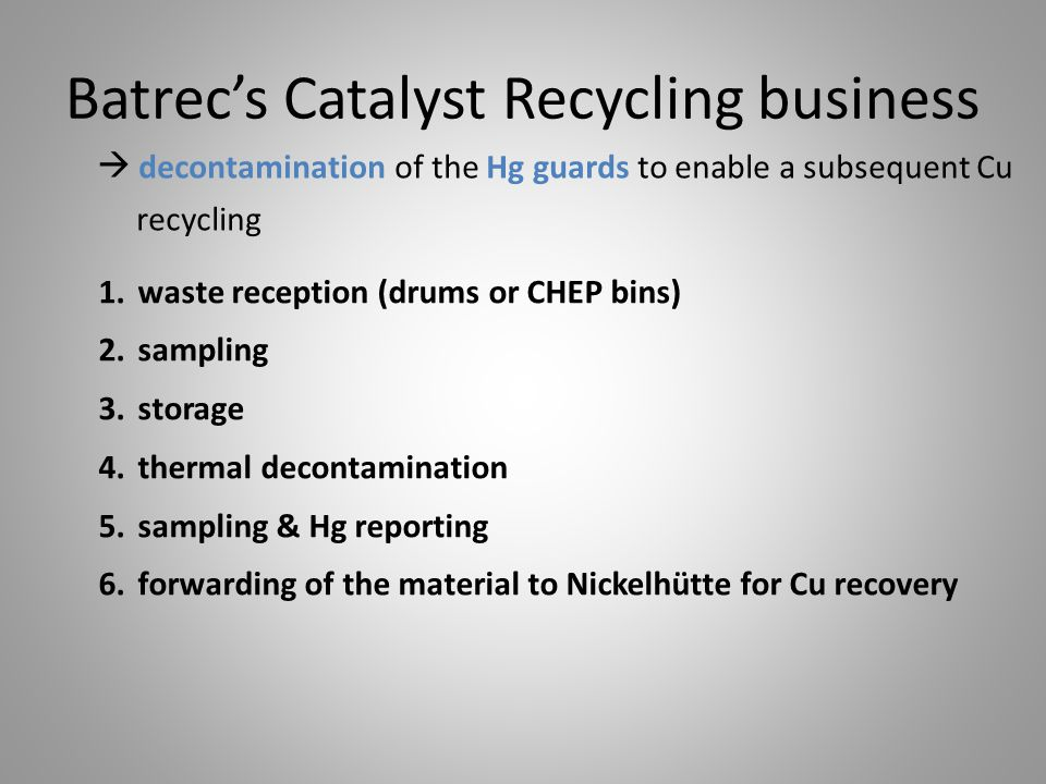 Batrec's Catalyst Recycling business