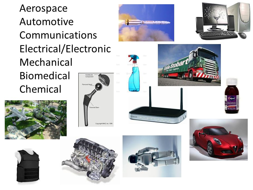 Aerospace Automotive Communications Electrical/Electronic Mechanical Biomedical Chemical
