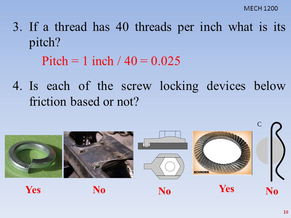 If a thread has 40 threads per inch what is its pitch