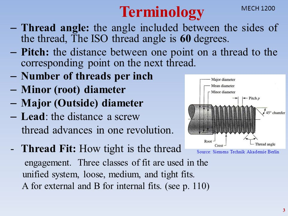 Terminology MECH 1200. Thread angle: the angle included between the sides of the thread, The ISO thread angle is 60 degrees.