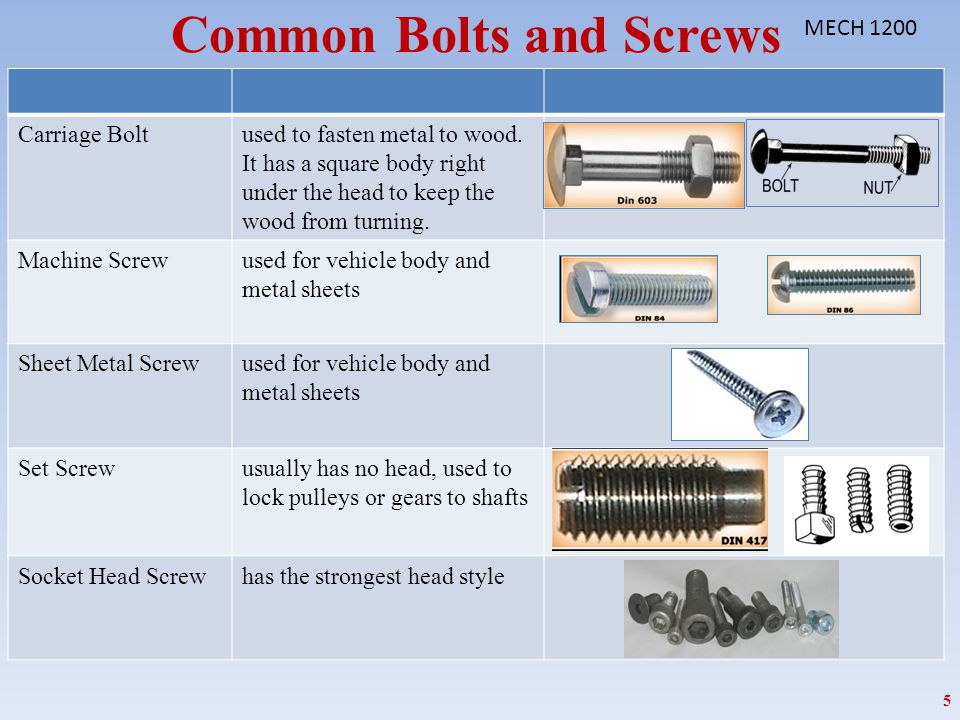 Common Bolts and Screws