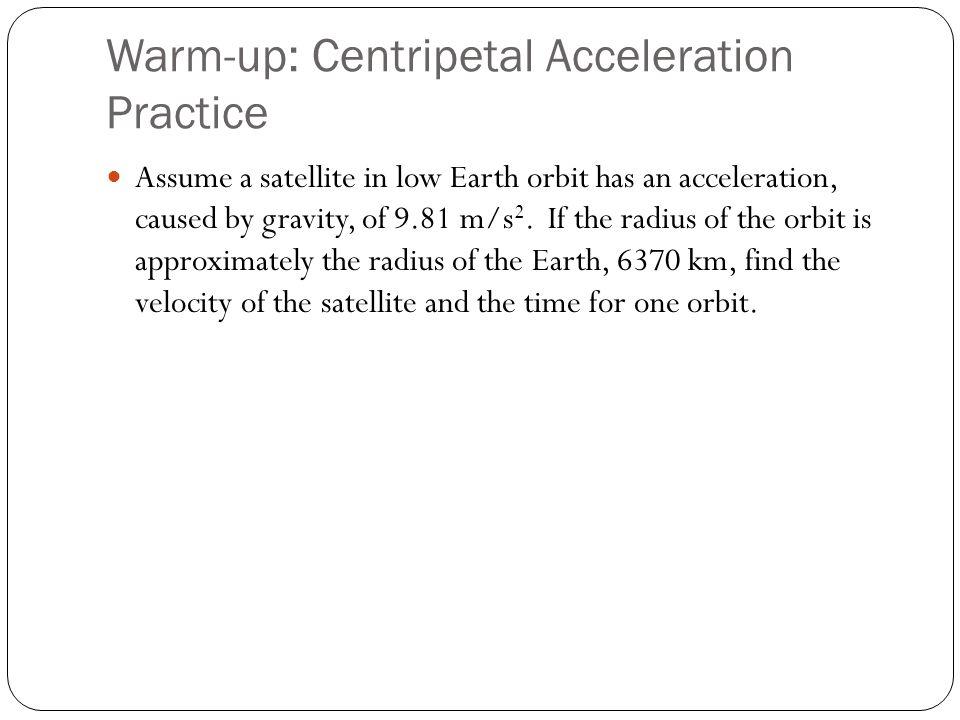 Warm-up: Centripetal Acceleration Practice