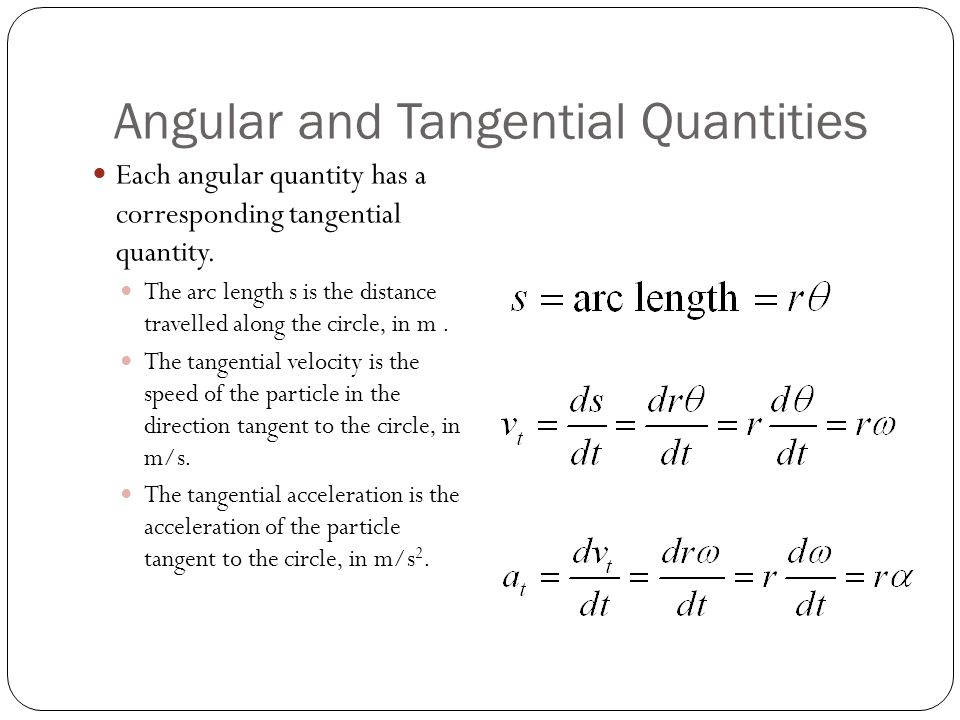 Angular and Tangential Quantities