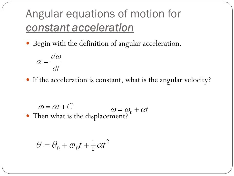 Angular equations of motion for constant acceleration