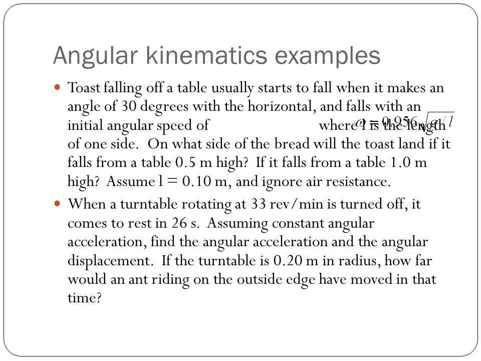 Angular kinematics examples