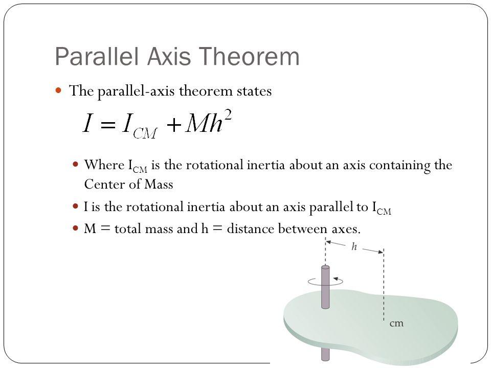 Parallel Axis Theorem The parallel-axis theorem states