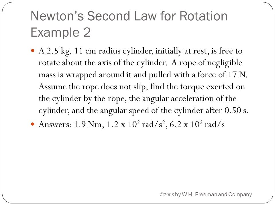 Newton's Second Law for Rotation Example 2