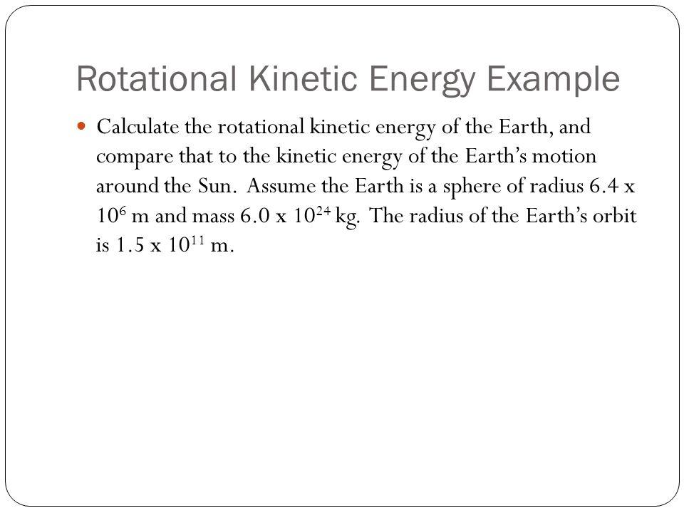 Rotational Kinetic Energy Example