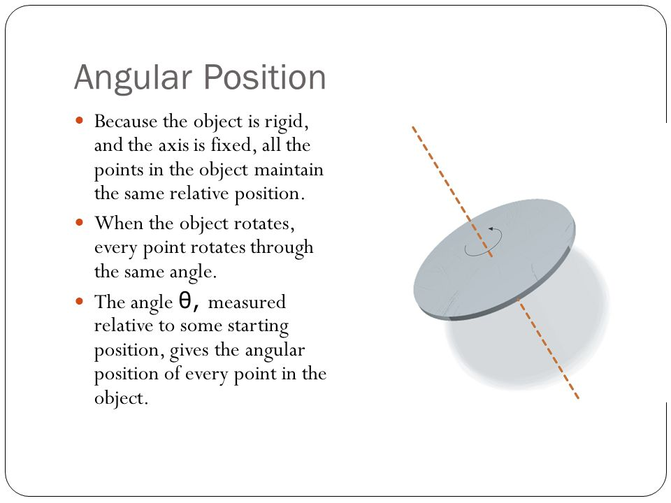 Angular Position Because the object is rigid, and the axis is fixed, all the points in the object maintain the same relative position.
