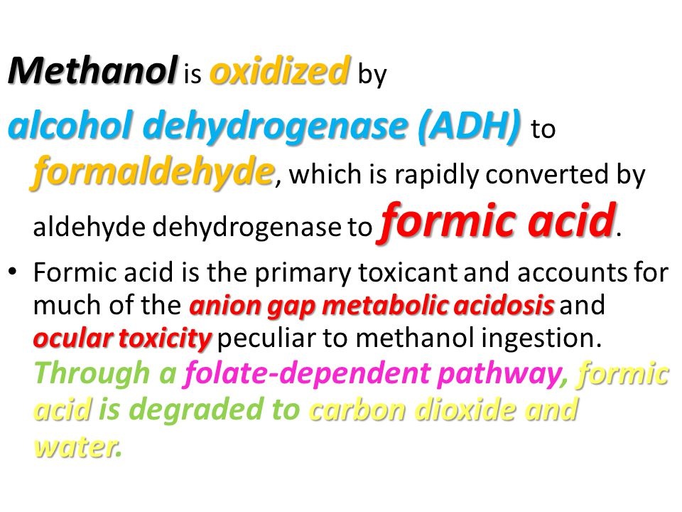 Methanol is oxidized by