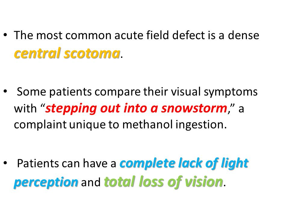 The most common acute field defect is a dense central scotoma.