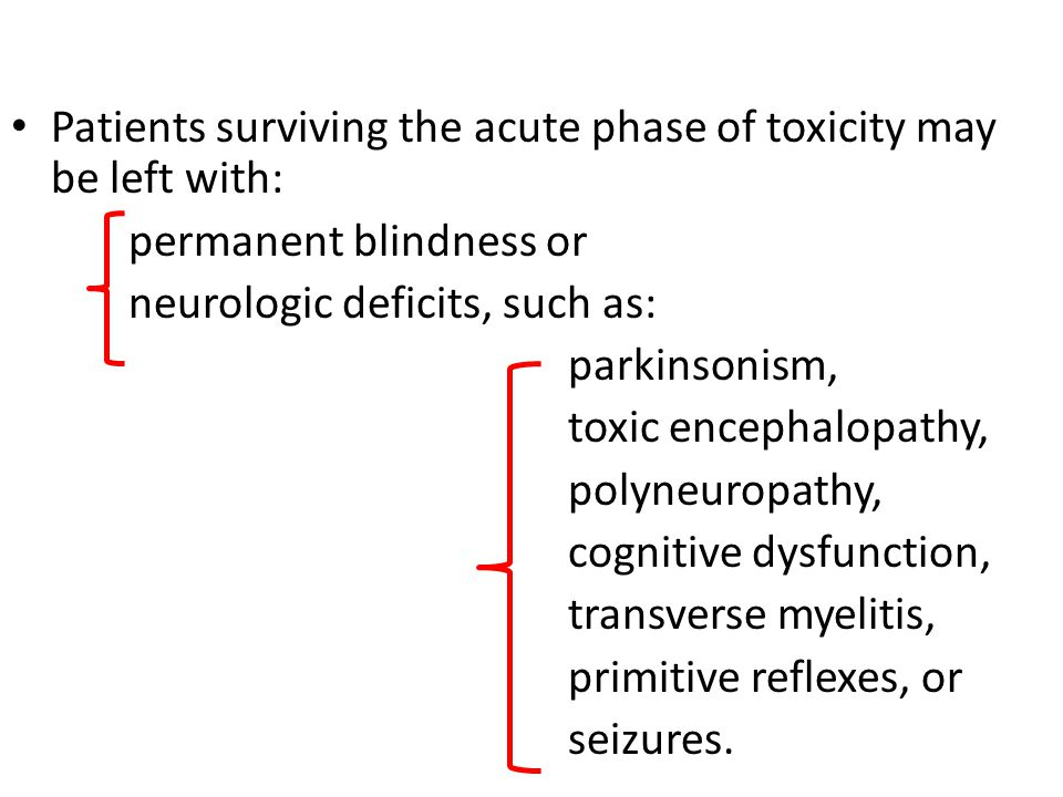 Patients surviving the acute phase of toxicity may be left with: