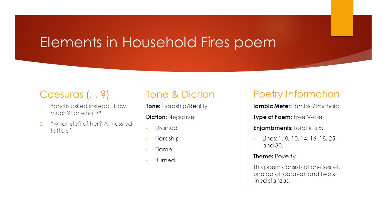 Elements in Household Fires poem