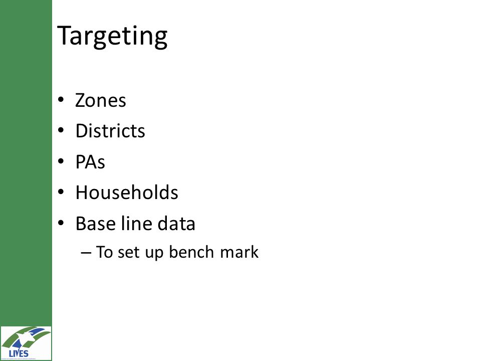 Targeting Zones Districts PAs Households Base line data