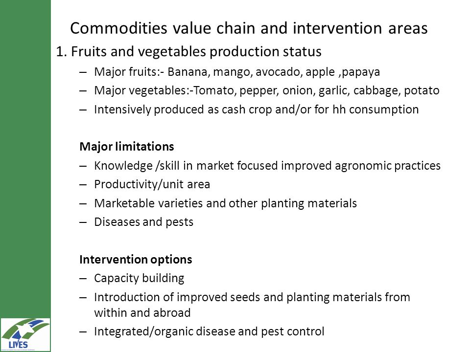 Commodities value chain and intervention areas