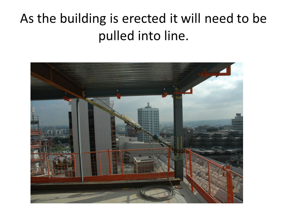 As the building is erected it will need to be pulled into line.