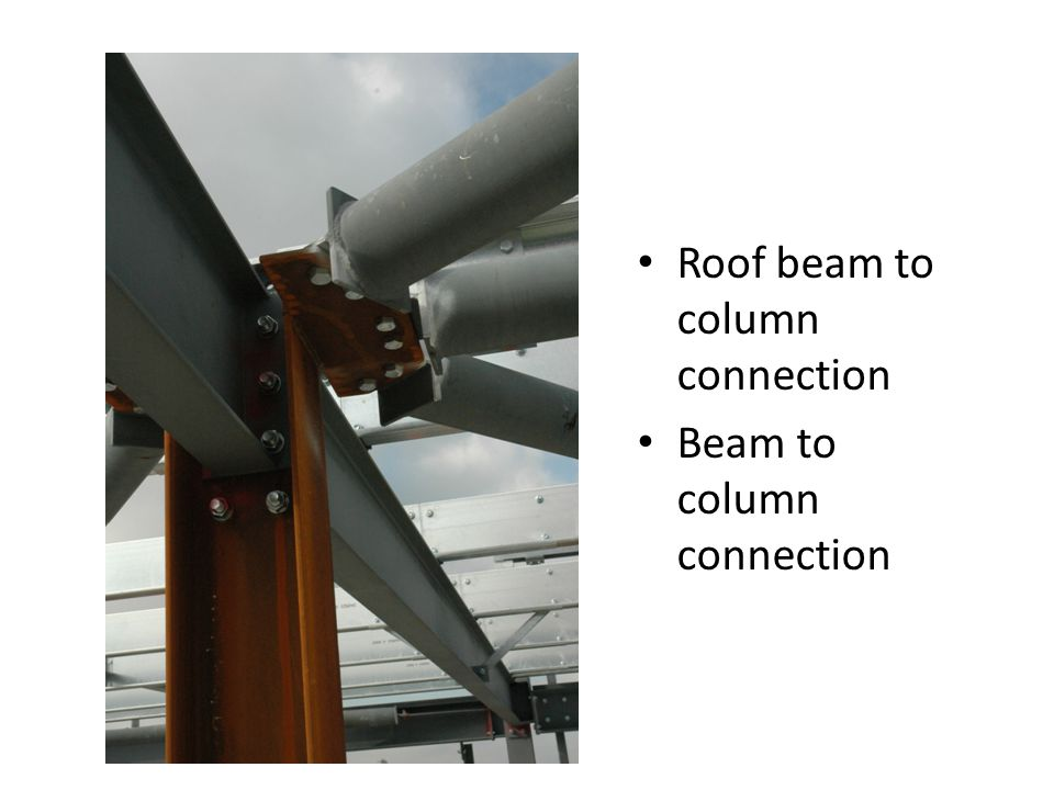 Roof beam to column connection