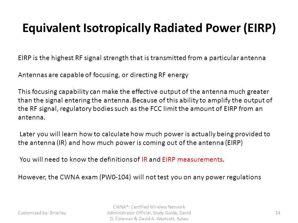 Equivalent Isotropically Radiated Power (EIRP)
