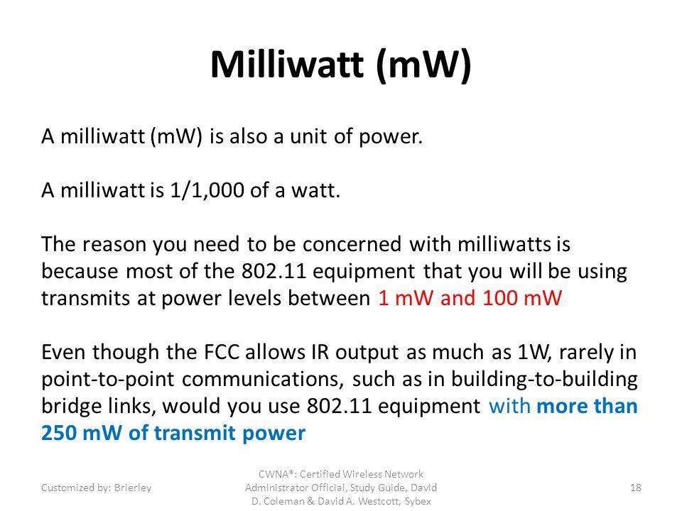 Milliwatt (mW) A milliwatt (mW) is also a unit of power.