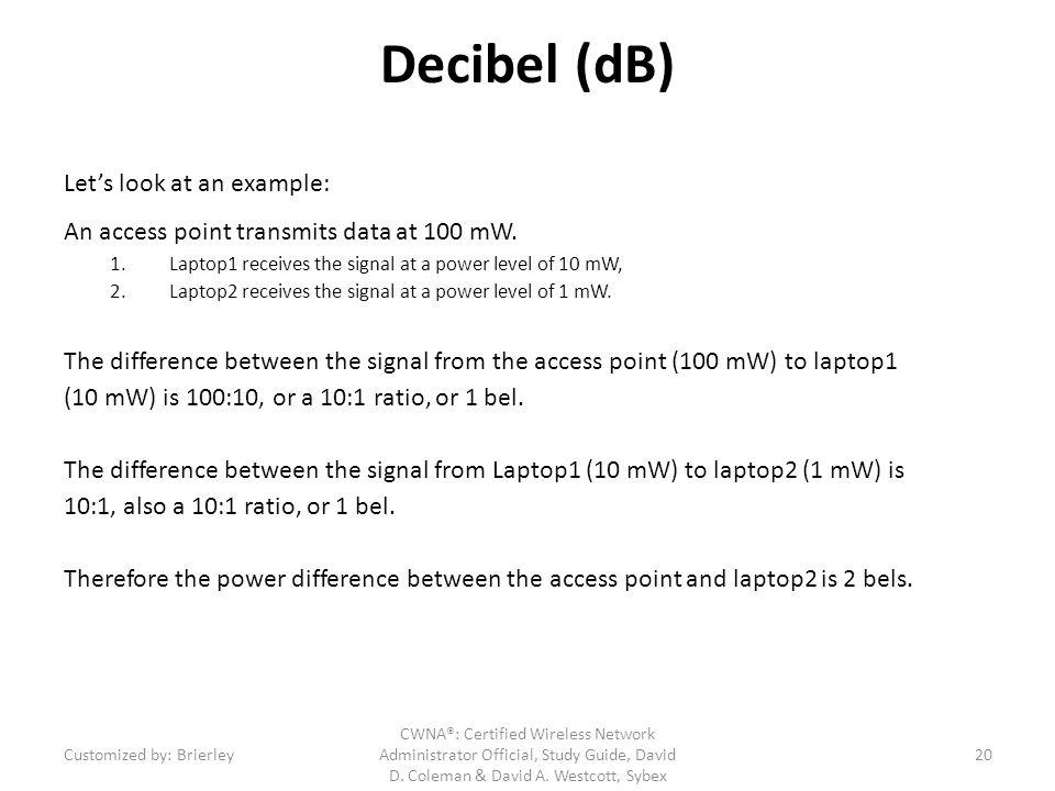 Decibel (dB) Let's look at an example: