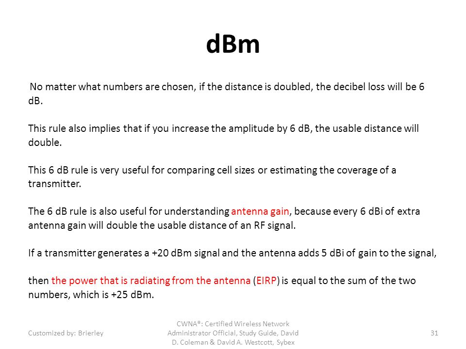 dBm No matter what numbers are chosen, if the distance is doubled, the decibel loss will be 6 dB.