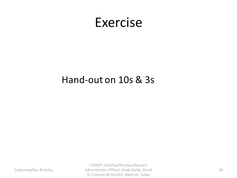 Exercise Hand-out on 10s & 3s