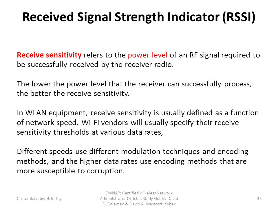 Received Signal Strength Indicator (RSSI)