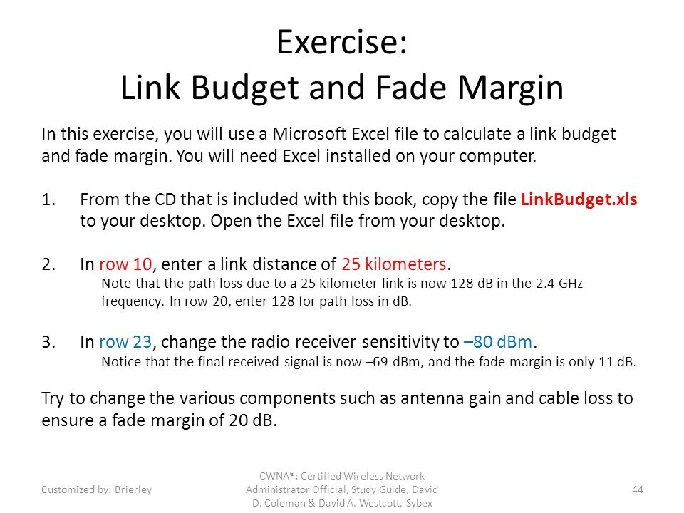Exercise: Link Budget and Fade Margin