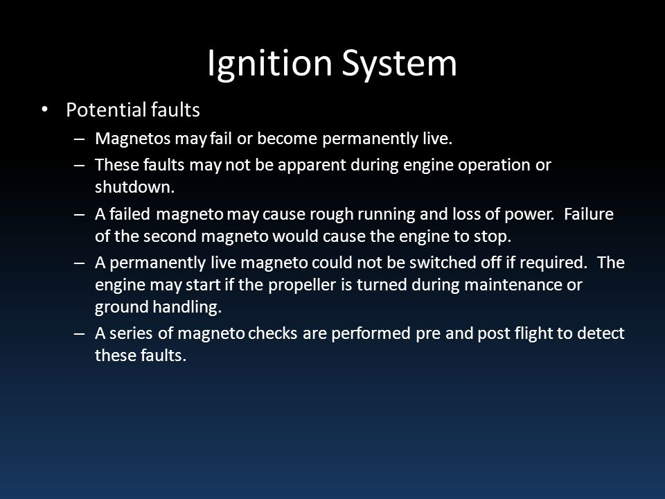 Ignition System Potential faults