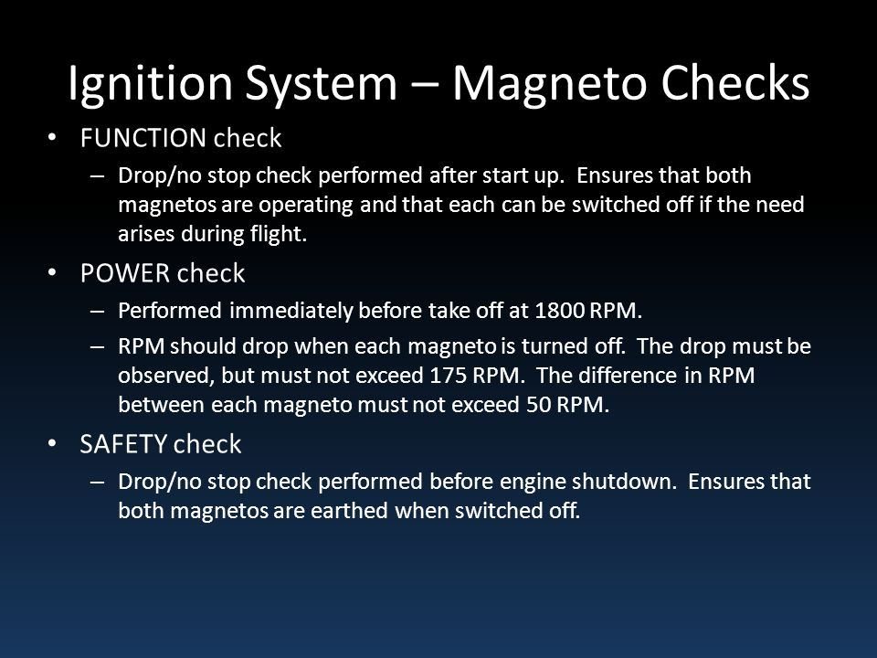 Ignition System – Magneto Checks