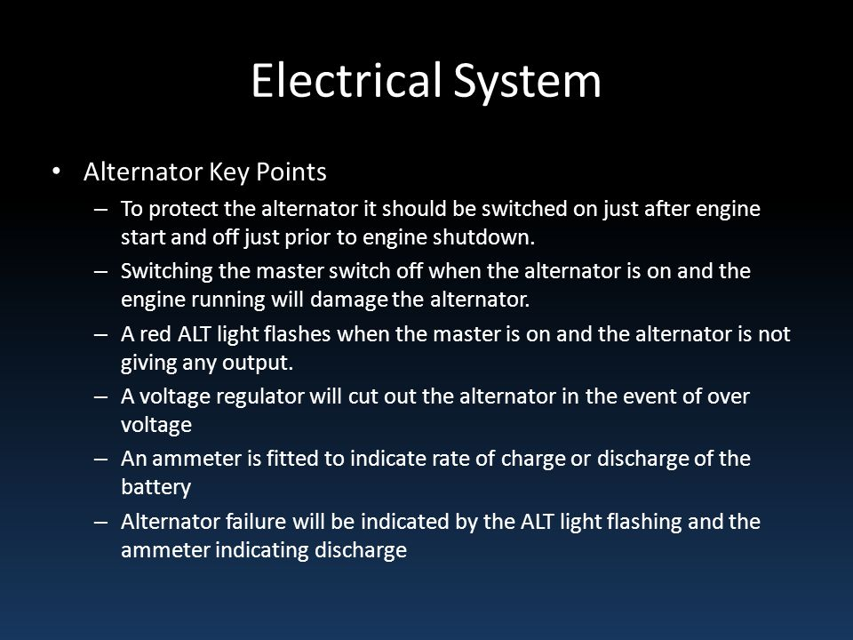 Electrical System Alternator Key Points
