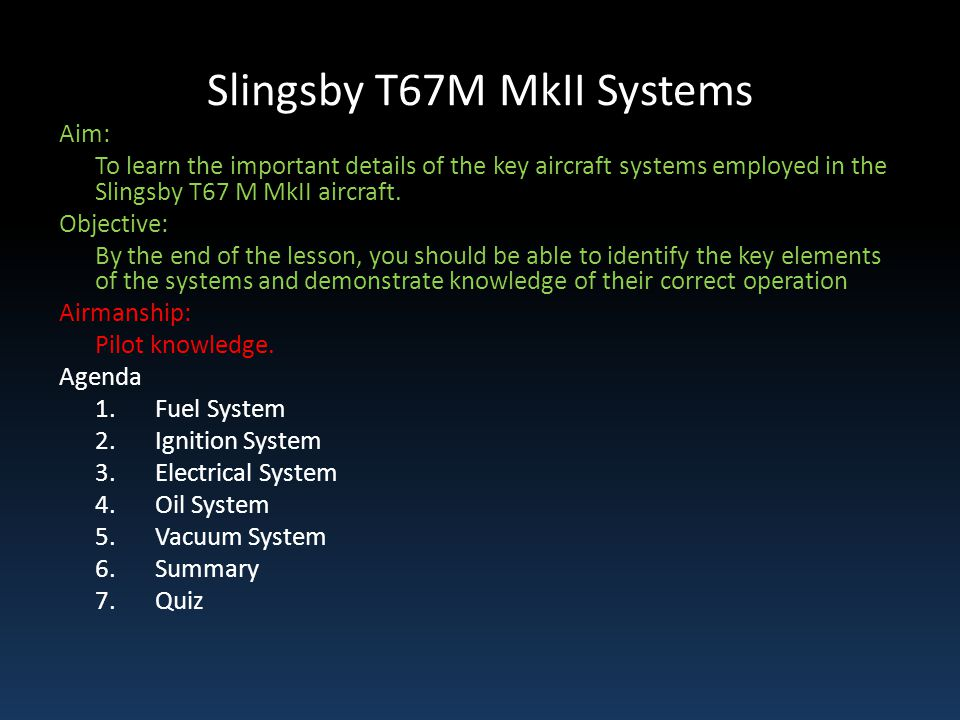 Slingsby T67M MkII Systems