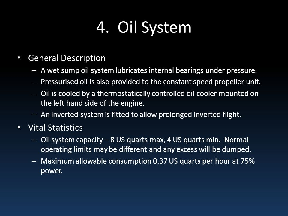 4. Oil System General Description Vital Statistics