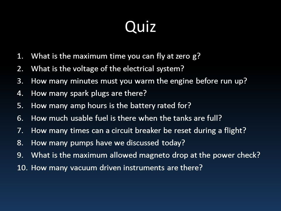 Quiz What is the maximum time you can fly at zero g