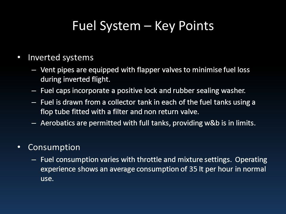 Fuel System – Key Points