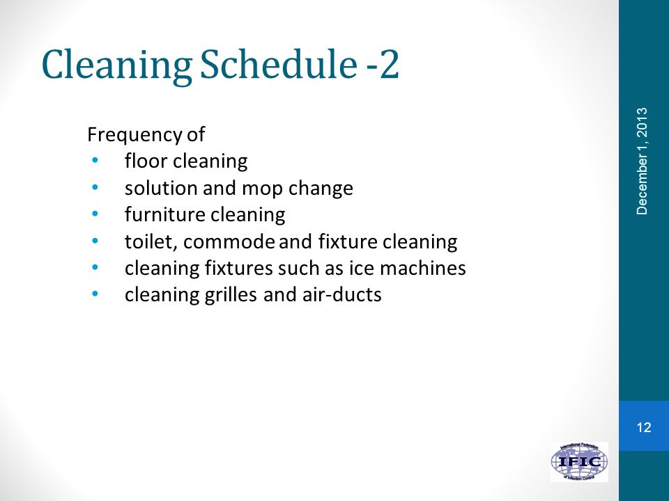 Cleaning Schedule -2 Frequency of floor cleaning