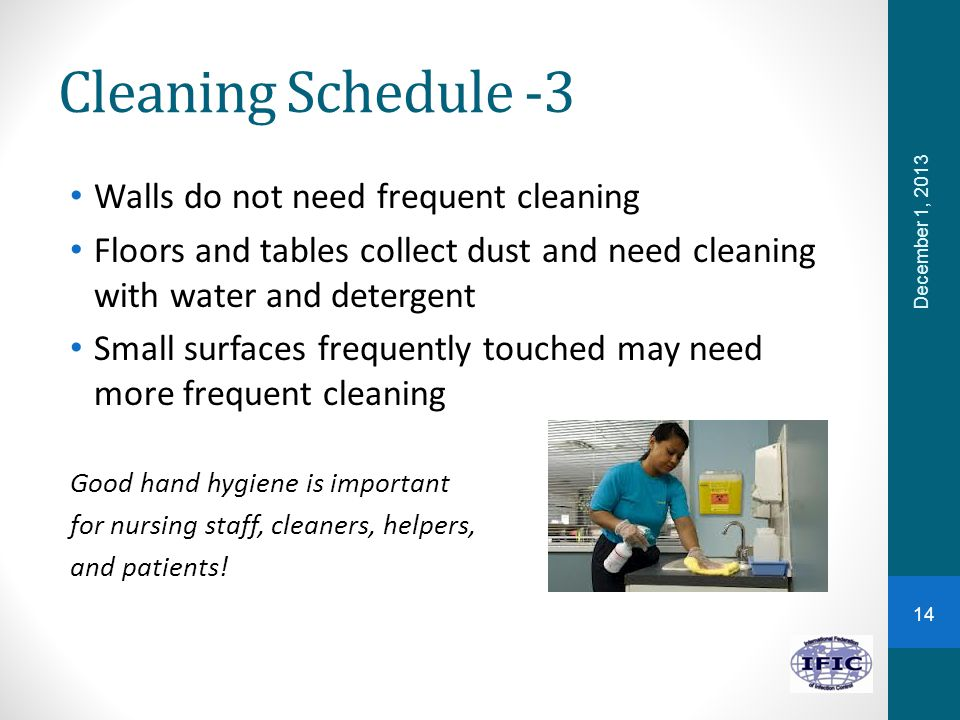 Cleaning Schedule -3 Walls do not need frequent cleaning