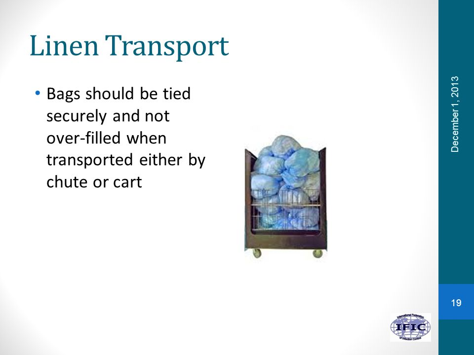 Linen Transport Bags should be tied securely and not over-filled when transported either by chute or cart.