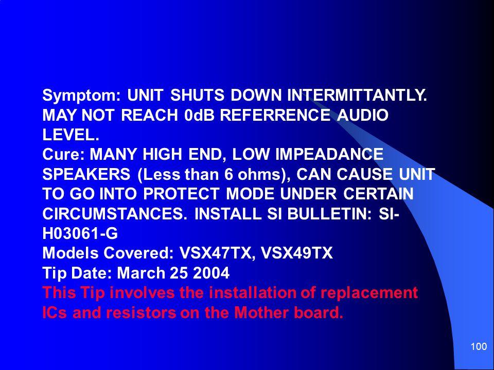 Symptom: UNIT SHUTS DOWN INTERMITTANTLY