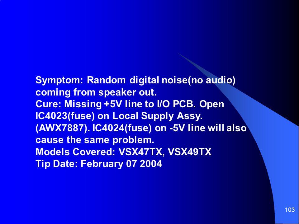 Symptom: Random digital noise(no audio) coming from speaker out