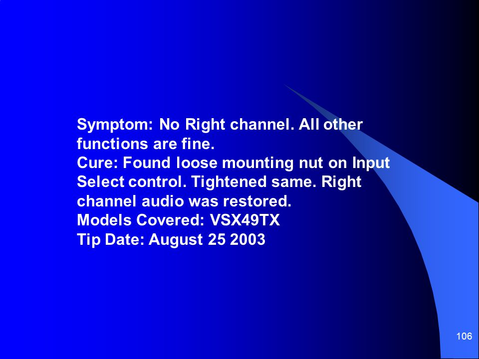 Symptom: No Right channel. All other functions are fine
