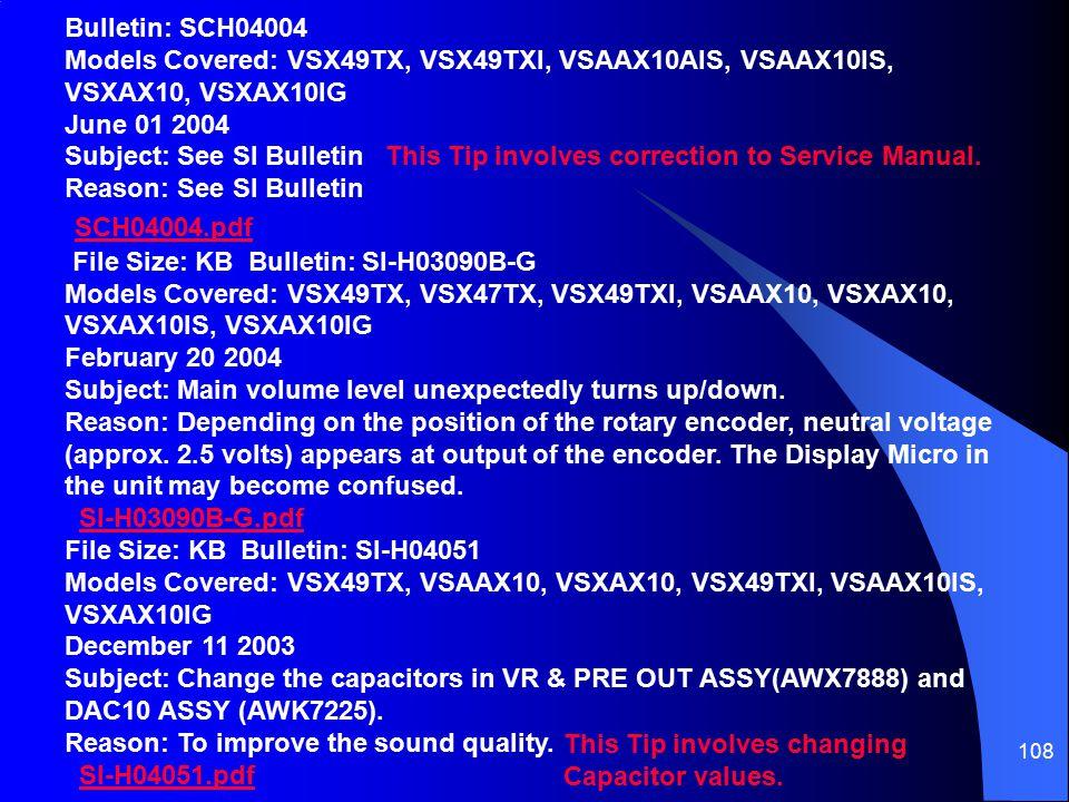 Bulletin: SCH04004 Models Covered: VSX49TX, VSX49TXI, VSAAX10AIS, VSAAX10IS, VSXAX10, VSXAX10IG June 01 2004 Subject: See SI Bulletin Reason: See SI Bulletin