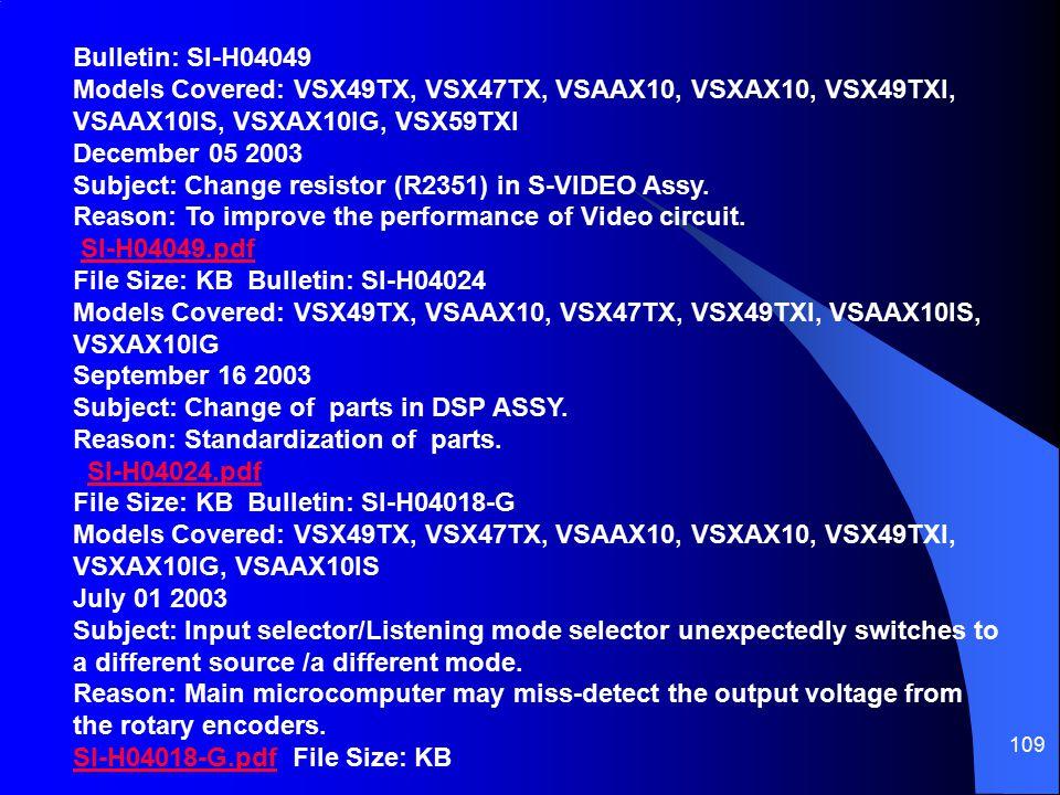 Bulletin: SI-H04049 Models Covered: VSX49TX, VSX47TX, VSAAX10, VSXAX10, VSX49TXI, VSAAX10IS, VSXAX10IG, VSX59TXI December 05 2003 Subject: Change resistor (R2351) in S-VIDEO Assy. Reason: To improve the performance of Video circuit.