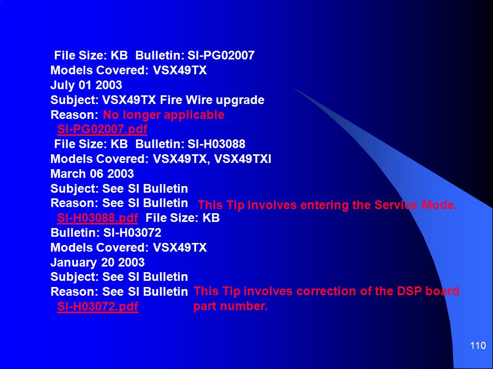 File Size: KB Bulletin: SI-PG02007 Models Covered: VSX49TX July 01 2003 Subject: VSX49TX Fire Wire upgrade Reason: