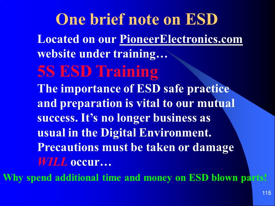 One brief note on ESD 5S ESD Training