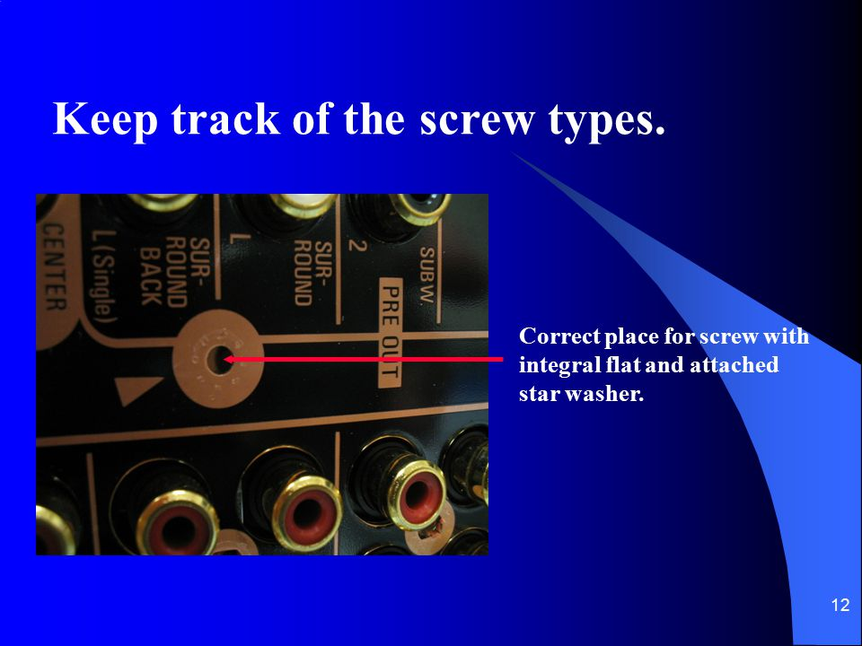 Keep track of the screw types.