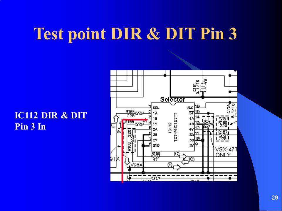 Test point DIR & DIT Pin 3 IC112 DIR & DIT Pin 3 In